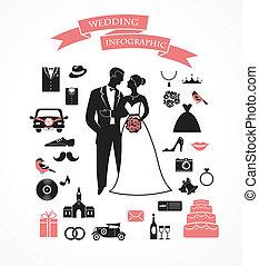 ベクトル, グラフィック, セット, 要素, 結婚式