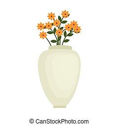 ベクトル, グラフィック, ポット, 装飾, 花, 花, アイコン
