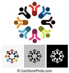ベクトル, グラフィック, 人々, 媒体, &, -, 概念, 社会, コミュニケーション, ロゴ, アイコン