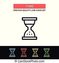 ベクトル, グラフィック, 砂時計, アウトライン, アイコン, 単純である, 品質, 現代, clock., シンボル, コレクション, 砂, セット, 薄くなりなさい, 時間, 優れた, icon., サイン, 線, design.