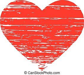 ベクトル, グラフィック, heart., 赤, scrached