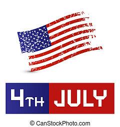 ベクトル, グランジ, シンボル, -, アメリカの旗, 第4, 汚い, 7月