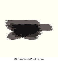 ベクトル, グランジ, ペイントされた, 隔離された, 手, ペンキのしぶき, 黒, ブラシ, 背景, 白