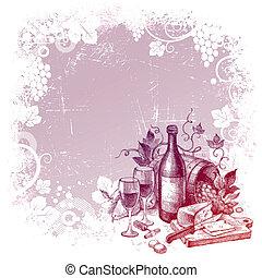ベクトル, グランジ, 背景, ∥で∥, ビンテージ・ワイン, 静かな 生命