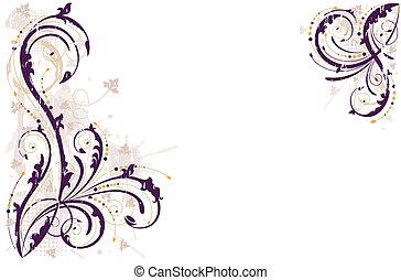 ベクトル, グランジ, 花, 背景