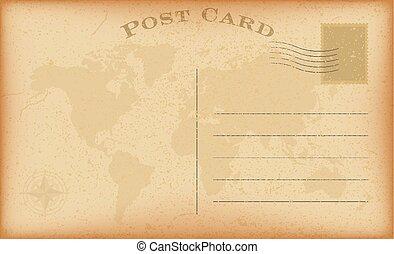 ベクトル, グランジ, postcard., 型, ペーパー, 背景, 古い