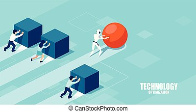 ベクトル, グループ, 先導, 押す, ロボット, に対して, businesspeople, 球, 箱, レース, slower