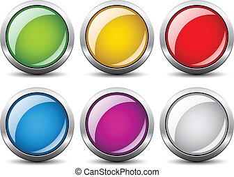 ベクトル, グロッシー, ボタン