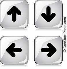 ベクトル, グロッシー, 矢, ボタン