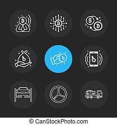 ベクトル, コイン, ステアリング, ドル, 輸送, ビット, セット, 9, eps, ic, 自動車, お金, アイコン, モビール
