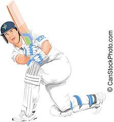 ベクトル, コオロギ, batsman, action.