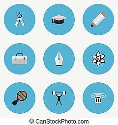 ベクトル, コラム, セット, 単純である, 仕切り, イラスト, ボディービル, 学者, synonyms, 他, icons., 測定, 核, 教育, 帽子, briefcase., 要素