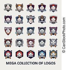 ベクトル, コレクション, 大きい, ロゴ, 野球
