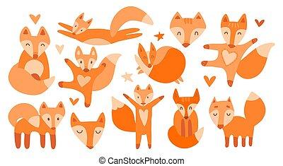 ベクトル, コレクション, foxes., 顔, かわいい, 背景, イラスト, 獣, 白, isolated., よい, 11, 睡眠, 美しい, キツネ, 抱き合う, 赤いキツネ, 動くこと, モデル, 跳躍