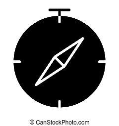 ベクトル, コンパス, icon., 96x96, pictogram, 単純である, 最小である
