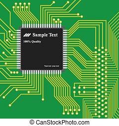 ベクトル, コンピュータ, -, 高く, 背景, 板, 回路, 技術