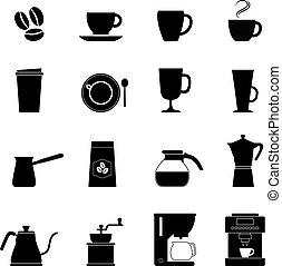 ベクトル, コーヒー セット, アイコン, イラスト