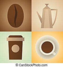 ベクトル, コーヒー セット, イラスト, アイコン