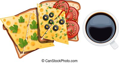 ベクトル, コーヒー セット, dill, カップ, 食物, オリーブ, トマト, 2, イラスト, breakfast., バックグラウンド。, 卵, 黒, サンドイッチ, 白, トースト, チーズ