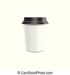 ベクトル, コーヒー, lid., カップ, mockup, -, イラスト, プラスチック, ペーパー, 黒, ブランク, 行きなさい, 白, ∥あるいは∥
