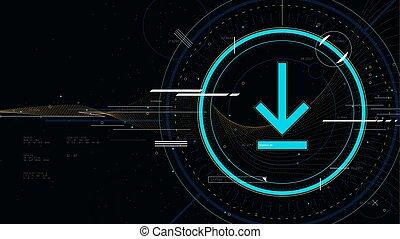 ベクトル, サイエンスフィクション, 技術, 背景, hi-tech, アイコン, イラスト, 未来派, 技術, 革新, ダウンロード