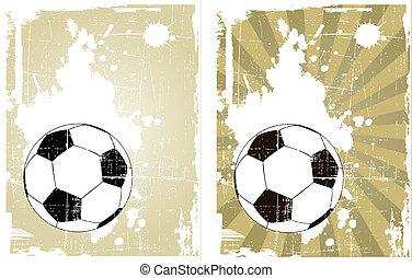 ベクトル, サッカーボール, グランジ, 背景