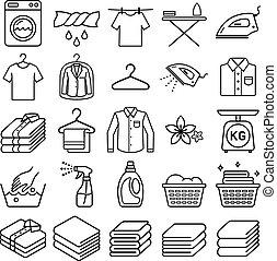 ベクトル, サービス, illustrations., 洗濯物, icons.
