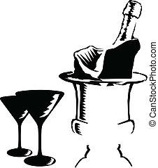 ベクトル, シャンペン, イラスト