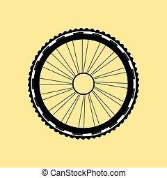 ベクトル, シルエット, の, a, 自転車車輪, ∥で∥, tyre, そして, スポーク