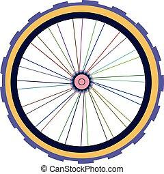 ベクトル, シルエット, の, a, 自転車車輪, ∥で∥, tyre, そして, スポーク, 隔離された, 白
