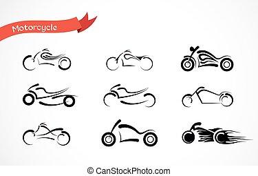 ベクトル, シルエット, アイコン, コレクション, クラシック, オートバイ, motorcycle.