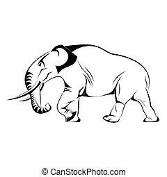 ベクトル, シルエット, 象