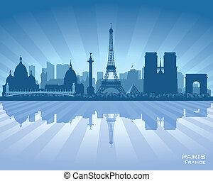 ベクトル, シルエット, 都市, パリフランス, スカイライン