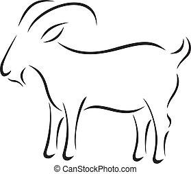 ベクトル, シルエット, goat