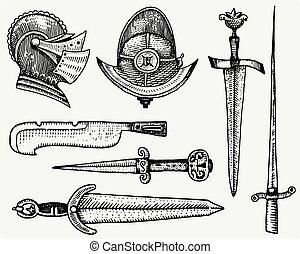 ベクトル, シンボル, スケッチ, 切口, 古い, 中世, ヘルメット, 隔離された, 型, 手, 見る, 現実的, 木, 剣, illustration., 引かれる, レトロ, 刻まれる, ∥あるいは∥, ナイフ, スタイル