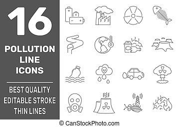 ベクトル, シンボル, 10., 線, アイコン, eps, 問題, stroke., 汚染, editable, エコロジー, illustration., 隔離された, セット
