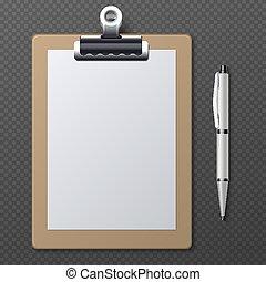 ベクトル, シート, ビジネス, ブランク, 現実的, ペーパー, テンプレート, クリップボード, pen., 白