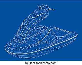 ベクトル, スキー, sketch., ジェット機