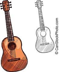 ベクトル, スケッチ, アコースティックギター, 楽器