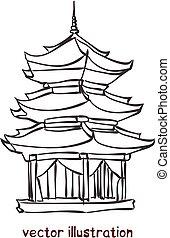 ベクトル, スケッチ, 塔, 中国語