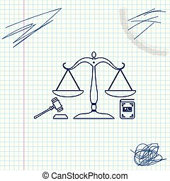 ベクトル, スケッチ, 概念, アイコン, スケール, オークション, 正義, シンボル, justice., 隔離された, 法的, シンボル。, バックグラウンド。, 本, イラスト, 小槌, 白, 法律, 線, law.