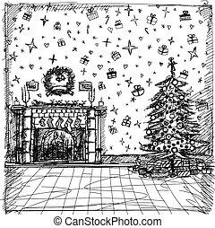 ベクトル, スケッチ, 背景, ∥で∥, クリスマス