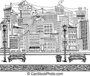 ベクトル, スケッチ, 背景, ∥で∥, 都市