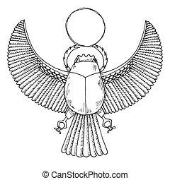 ベクトル, スケッチ, scarab., イラスト, エジプト人