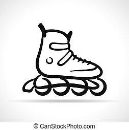 ベクトル, スケート, 黒, ローラー, アイコン