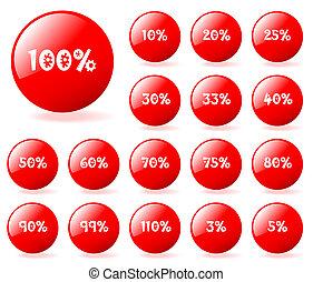 ベクトル, スタイル, セット, gallery., アクア色, 編集, 割引, buttons., 容易である, size., 私, (どれ・何・誰)も, 赤, もっと