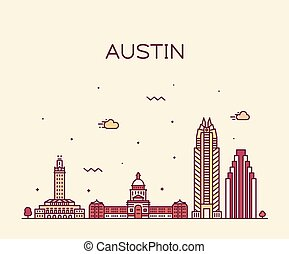 ベクトル, スタイル, テキサス, 線である, スカイライン, usa., オースティン