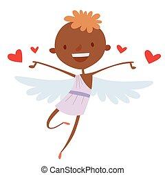 ベクトル, スタイル, 天使, 漫画, キューピッド, 日, イラスト, バレンタイン