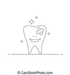 ベクトル, スタイル, 概念, 線である, 後で, 訪問, 隔離された, イラスト, 歯, バックグラウンド。, 作られた, 待遇, 歯, dentist., 微笑, 白, 心配