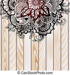 ベクトル, スタイル, 要素, illustration., 木製である, 抽象的, henna, バックグラウンド。, indian, デザイン, mehndi, 花, element.